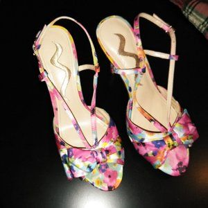 Nina Flowered High Heel Shoes with Bows